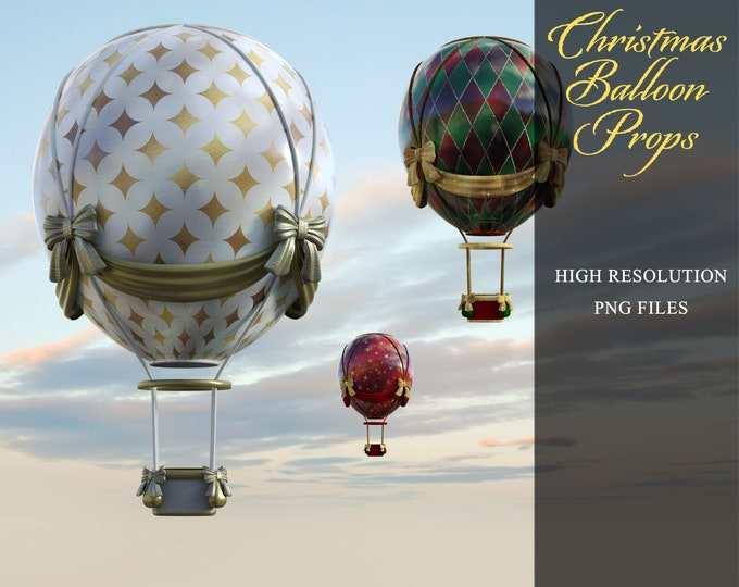 Christmas Balloon Prop Overlays, Separate PNG Files, High Resolution, Instant Download, CUOK, Buy 3 get 1 free.