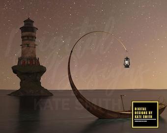 Lighthouse Keeper Digital Backdrop / Background, High Resolution, Instant Download, Buy 3 get 1 free, CUOK.