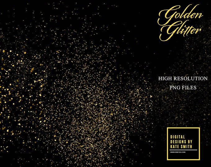 8 Golden Glitter Overlays, Separate PNG Files, High Resolution, Instant Download. CUOK.