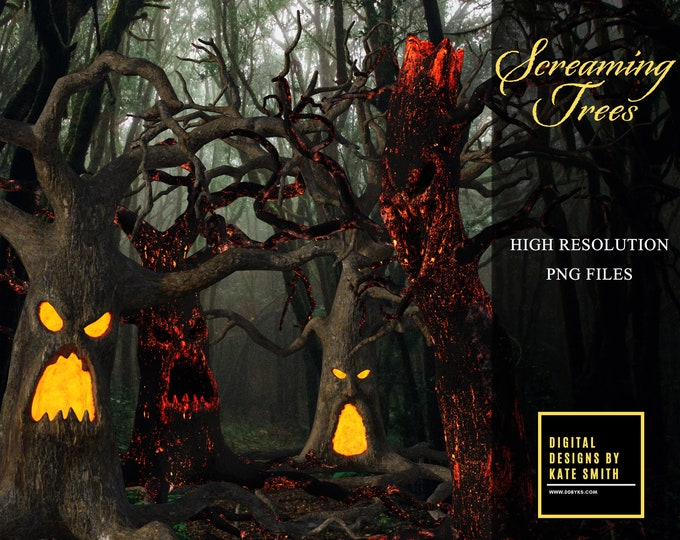 The Screaming Trees Overlays, Separate Png Files, High Resolution, Instant Download, Buy 3 get 1 free, CUOK.
