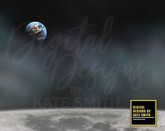 View from the Moon Digital Backdrop / Background, High Resolution, Instant Download.