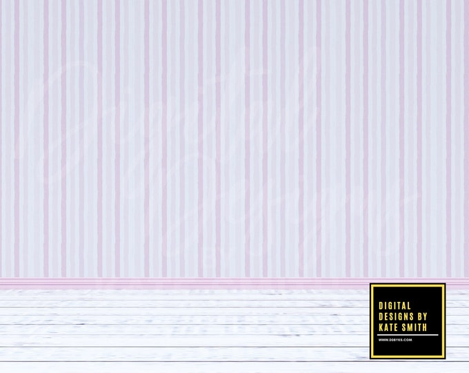 Pink Stripes Empty Room Digital Backdrop / Background, Commercial Use for Pre made Backgrounds, High Resolution.