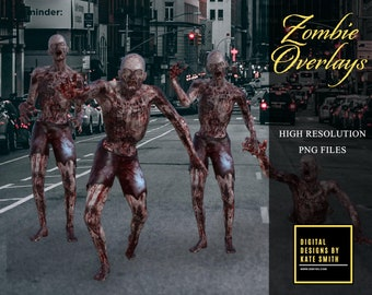 Zombie / Walking Dead Overlays, Separate PNG Files, High Resolution, Instant Download. Buy 3 get 1 free.