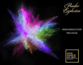 Buy 3 get one free. 20 Assorted Colorful Powder Explosion Overlays, High Resolution, Instant Download.