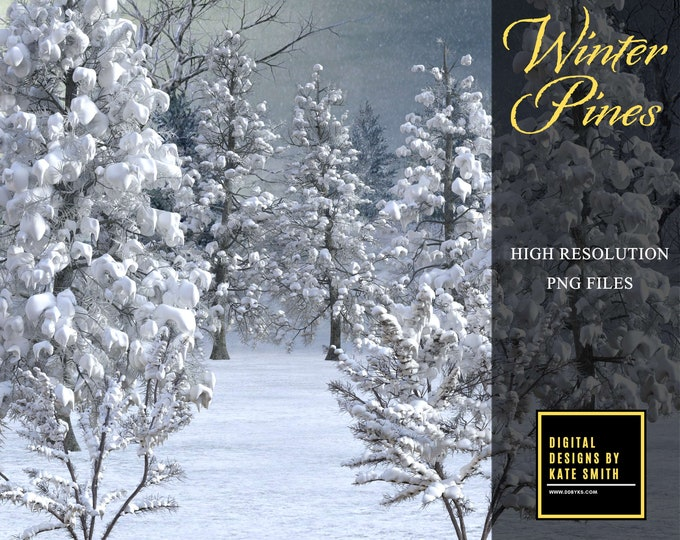 Winter Pines Overlays, Separate PNG Files, High Resolution, Instant Download, Buy 3 get 1 free, CUOK.