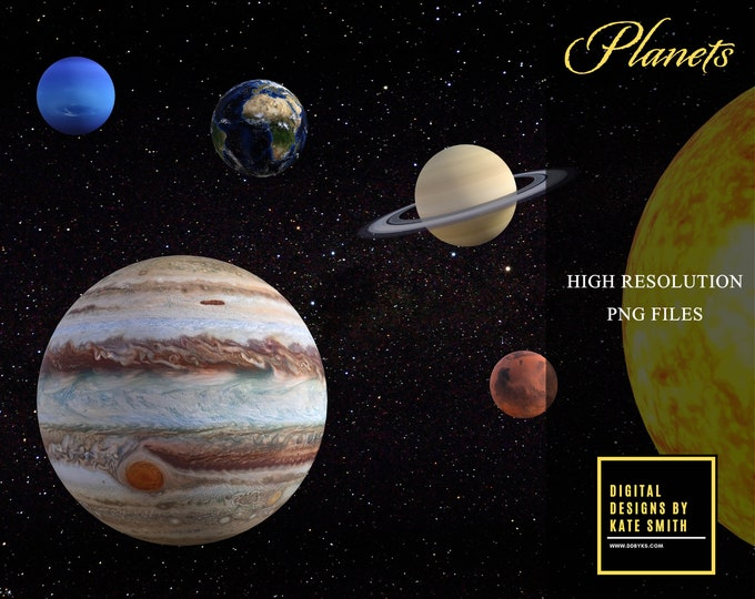 Planet Overlays, LARGE Files with Transparent Backing, Separate PNG Files, High Resolution, Instant Download, CUOK.
