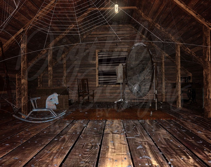 Haunted Attic Digital Backdrop / Background, High Resolution, Instant Download, Buy 3 get 1 free, CUOK.