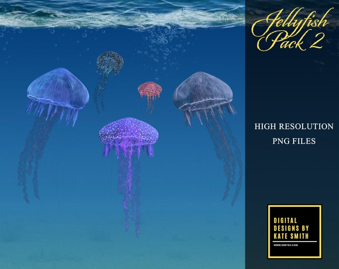 Jellyfish Overlays Pack 2, Separate PNG Files, High Resolution, Instant Download, CUOK.