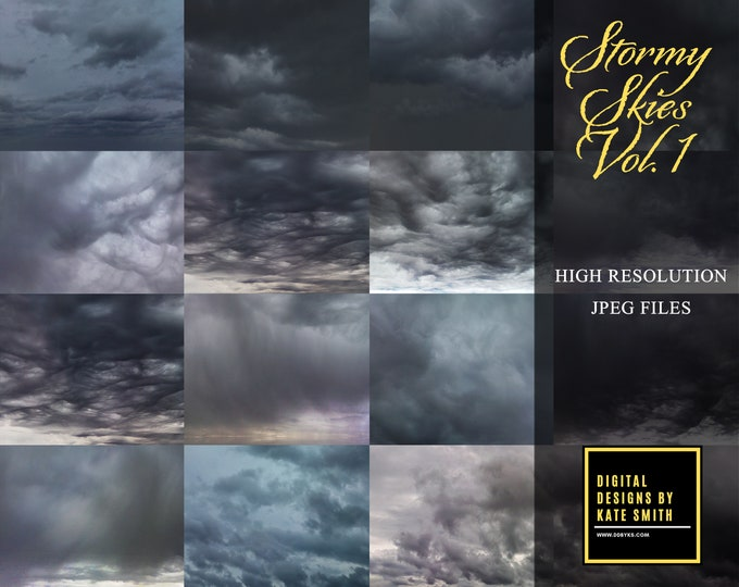 Stormy Skies Volume 1, Large Files, High Resolution, Instant Download, CUOK.