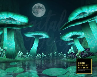 The Lost Lake Digital Backdrop / Background, 2 Versions, Fantasy Background with Glowing Mushrooms, High Resolution, Instant Download.