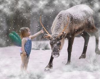 Buy 3 get one free. Winter Reindeer Digital Backdrop with wing overlays, Instant Digital Download