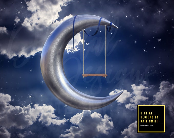 Moon Swing Digital Backdrop / Background, High Resolution, Instant Download, Buy 3 get 1 free.