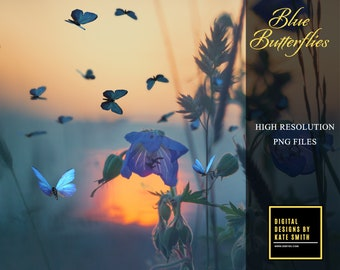 20 Blue Butterfly Flock Overlays, Separate PNG Overlays, High Resolution, Instant Download, CUOK.