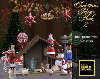 Christmas Mega Pack 2, Over 50 Overlays, Separate PNG Files, High Resolution, Instant Download, CUOK.