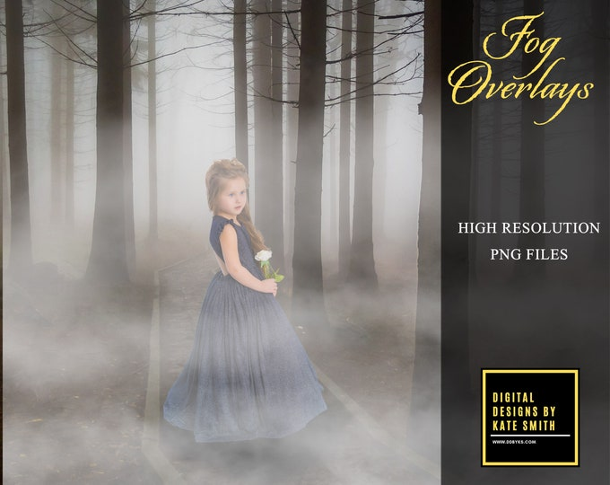 Buy 3 get one free. Fog Overlays, High Quality 300ppi, Instant Download, PNG files, Mystic fog.