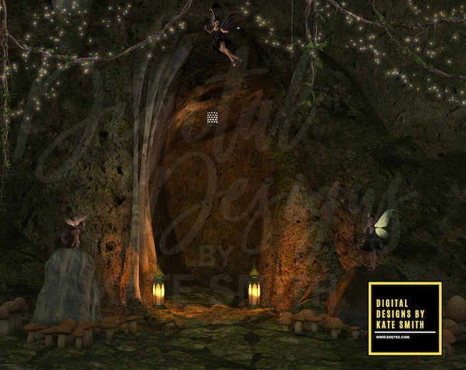 Fairy Cave Digital Backdrop / Background, High Resolution, Instant Download, Buy 3 get 1 free, CUOK.