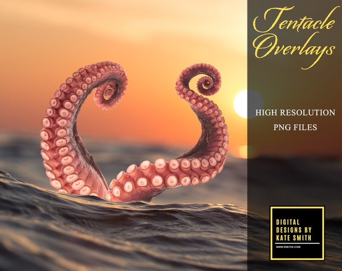 6 x Tentacle Overlays, LARGE Files, Seaparate PNG Files, High Resolution, Instant Download. Buy 3 get one free.