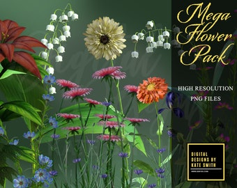 Mega Flower Overlays Pack, 64 Separate PNG Files, High Resolution, Instant Download. CUOK.