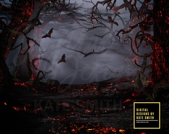 Lava Forest Digital Backdrop / Background, High Resolution, Instant Download, Buy 3 get 1 free, CUOK.