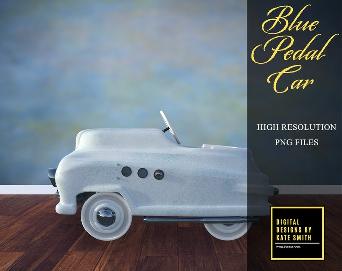 Blue Pedal Car Overlays, Separate PNG Files, High Resolution, Instant Download, CUOK, Buy 3 get 1 free.