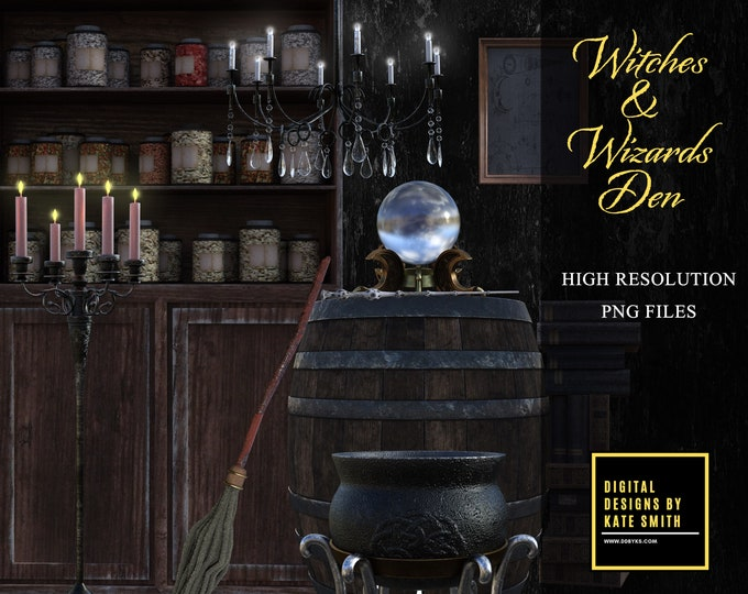 MEGA Witches and Wizards Den Overlays, Large Bundle of Separate PNG Files, High Resolution, Instant Download, CUOK.