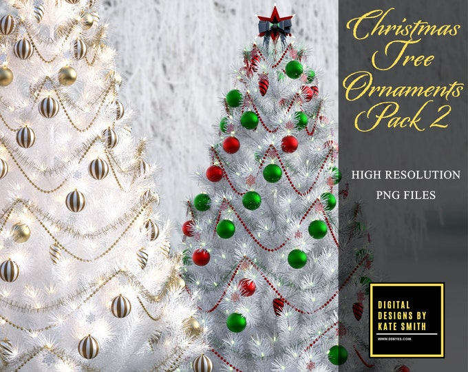 Christmas Tree Ornaments Pack 2, High Resolution PNG Files with Transparent Backing, Instant Download, CUOK.