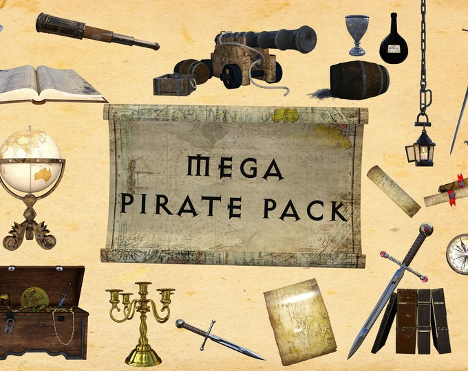 MEGA Pirate Pack, 51 Separate PNG Files, High Resolution, Instant Download, Buy 3 get 1 free, CUOK.
