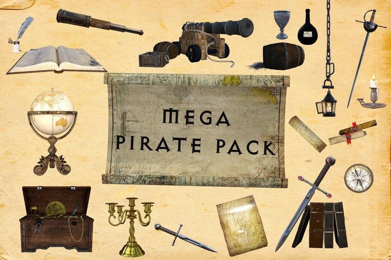 MEGA Pirate Pack Buy 3 get 1 free CUOK. High Resolution 51 Separate PNG Files Instant Download