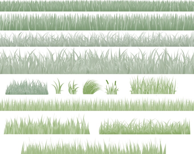 Buy 3 get one free. 15 X Grass Brushes for Photoshop, High Quality 300ppi, Instant Download.
