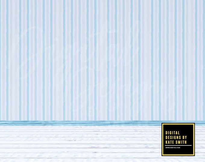 Blue Stripes Empty Room Digital Backdrop / Background, Commercial Use for Pre made Backgrounds, High Resolution.