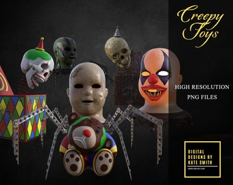 Creepy Toys Overlays, Separate PNG Files, High Resolution, Instant Download. CUOK