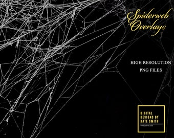 Spiderweb Overlays, Separate PNG Files, High Resolution, Instant Download, CUOK.