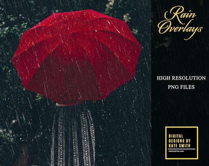 10 High Resolution Rain Overlays, Separate PNG Files, Instant Download, CUOK.