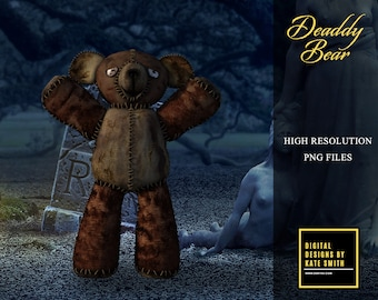 Deaddy Bear Overlays, Separate PNG Files, High Resolution, Instant Download, Buy 3 get 1 free, CUOK.