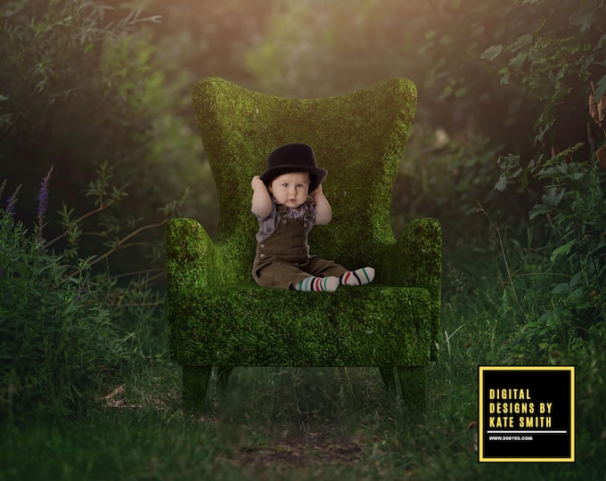 Forest Chair Digital Backdrop / Background, High Resolution, Instant Download, Buy 3 get 1 free, CUOK.
