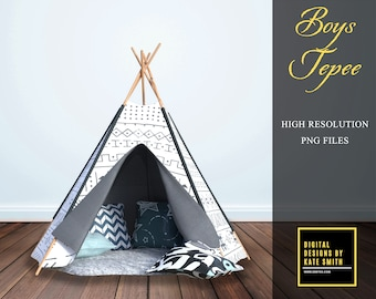 Boys Tepee Overlay, 2 Positions, Separate PNG Files, High Resolution, Instant Download. Buy 3 get 1 free.