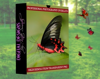 Buy 3 get one free. 10 x Real Red Butterfly Overlays, Separate PNG Files, High Resolution, Instant Download.