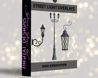 Street Lights Overlays, Separate High Resolution PNG Files, Instant Download.