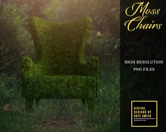 Moss Chair Overlays, Separate PNG Files, High Resolution, Instant Download. CUOK, Buy 3 get 1 free!