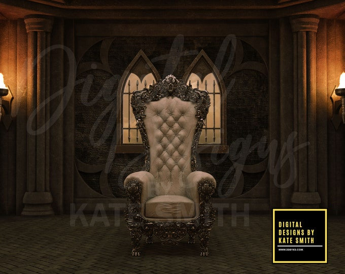 Medieval Throne Digital Backdrop / Background, High Resolution, Instant Download, Buy 3 get 1 free, CUOK.