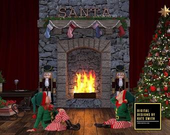 Christmas Eve Digital Backdrop / Background, High Resolution, Instant Download, Buy 3 get 1 free, CUOK.