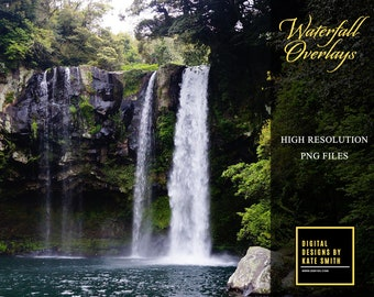 30 Waterfall Overlays, Separate PNG Files, High Resolution, Instant Download. CUOK.