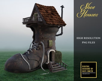 Shoe House Overlays, Separate PNG Files, High Resolution, Instant Download, CUOK.