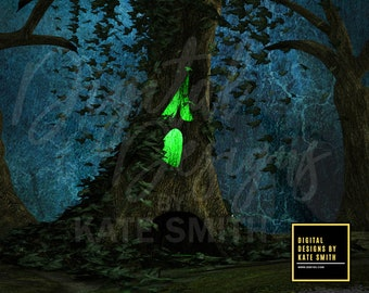 Haunted Forest Digital Backdrop / Background, High Resolution, Instant Download, Buy 3 get 1 free, CUOK.