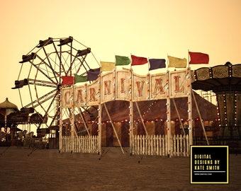 Vintage Carnival Digital Backdrop / Background, High Resolution, Instant Download, Buy 3 get 1 free, CUOK.