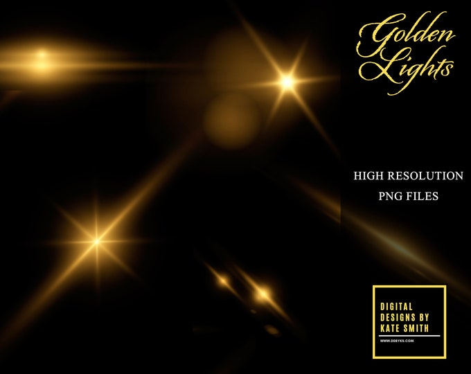 20 x Golden Lights Special Effect Overlays, Separate PNG Files, Instant Download, CUOK.