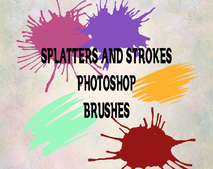 Buy 3 get one free. Splatter and Strokes Photoshop Brushes, ABR Files, Instant Download.