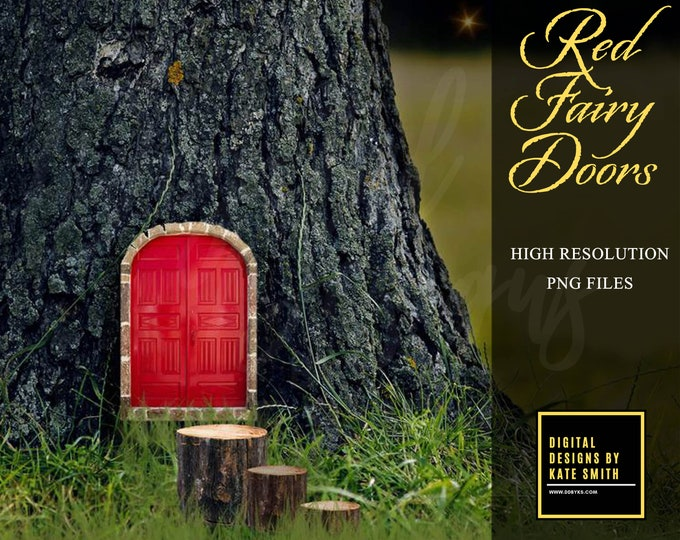 4 Red Fairy Door Overlays, Separate High Resolution PNG Files, Instant Download.