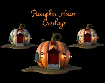 Pumpkin House Overlays, Separate PNG Files, High Resolution, Instant Download, Buy 3 get 1 free, CUOK.