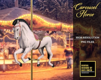 2 x Carousel Horse Overlays, Separate PNG Files, High Reolution, Instant Download. CUOK.